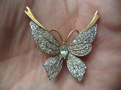 "Stunning Vintage Estate Signed Jomaz Rhinestone Butterfly 1 1/2"" Brooch!!! 7986M"