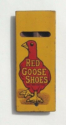 1930's Red Goose Shoes Whistle Advertising Ad Vintage Yellow Tin Still Works