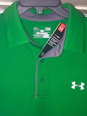 Under Armour Men's Size L Kelly Green Polo Style Shirt Short Sleeve >NEW W/Tags