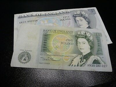 British Pound Old 5  And 1 Pound Banknotes