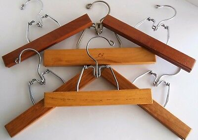 Vintage All Metal Clamp  9 inch Wood Hangers Skirts Snow Pants Setwell 10""