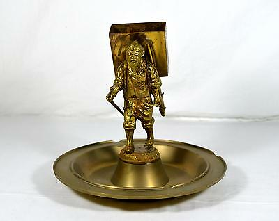 Vintage Brass/Bronze Ashtray - Asian Man W/ Walking Stick Match Holder Backpack