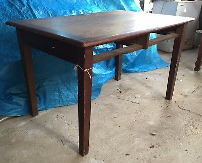 Old vintage mid-century solid Oak School Teachers / Office  Desk