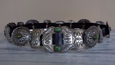 Vintage Sterling Silver & Green Turquoise Black Leather Concho Belt / 350 Grams