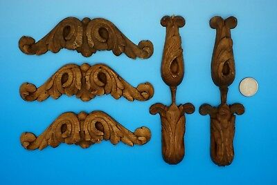 5 ANTIQUE HAND CARVED SOLID OAK DECORATIVE PIECES for VICTORIAN ERA FURNITURE