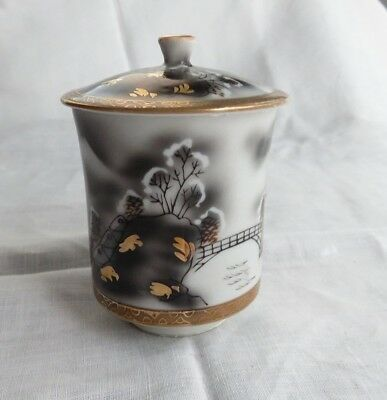 Antique Japanese Porcelain Footed Tea Cup With Lid
