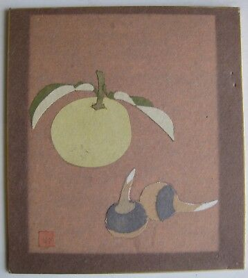 Fine Old Japanese Sumi-E Fruit Paper Cutouts Painting Artist SIGNED