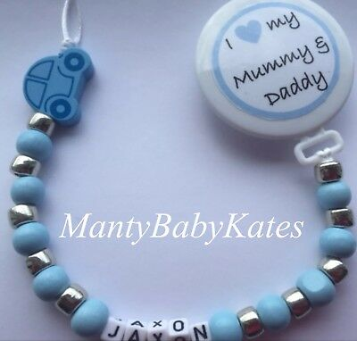 Personalised Wooden Dummy Clip💙love My Mummy And Daddy💙Dummy Chain💙Blue💙boy