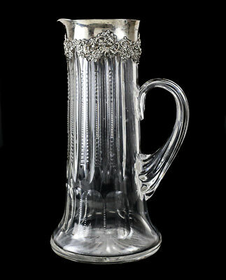 Antique Wallace Sterling Silver and Art Glass Pitcher, circa 1900