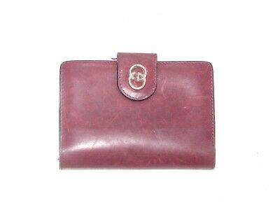 Vintage GUCCI DEEP RED Leather Credit/ Business Card  Case/Wallet