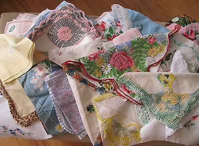 25 Vintage Hankies Crocheted Linen Cotton Tatted ~ Buy Now