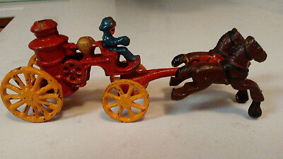 Vintage Cast Iron Fire Buggy And Horse And Carriage.