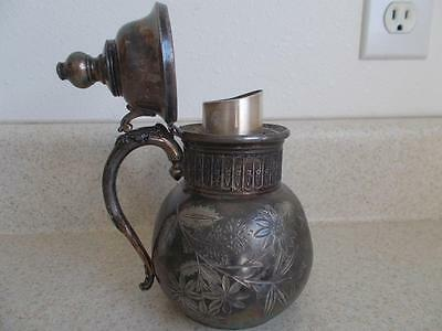 Antique Rockford SILVERPLATE Floral Engraved small Ewer PITCHER CREAMER JUG 972
