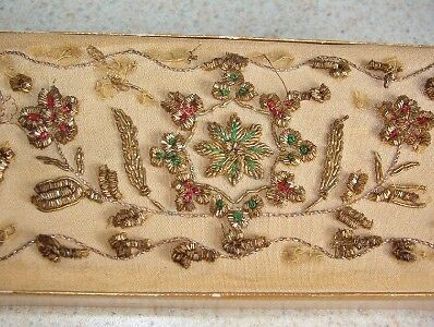 Lot of 2 Vintage SHABBY GOLD BEAD EMBROIDERED Hard PAPER BOXes small OLD Antique