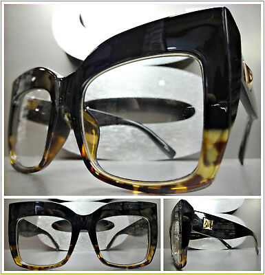 OVERSIZED VINTAGE RETRO CAT EYE Style Clear Lens EYE GLASSES Thick Black Frame