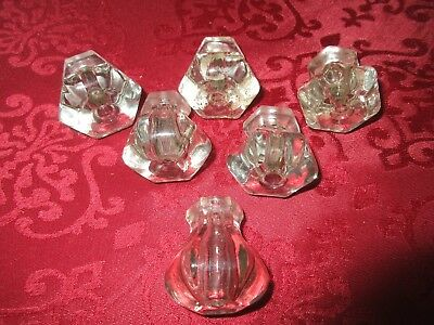 Lot Of 6 ANTIQUE VINTAGE GLASS DRAWER PULL KNOBS Salvage