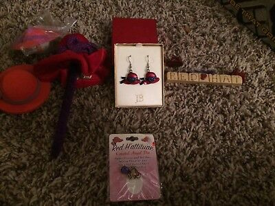 Red Hat Society  Lot Of Items ink pen ear rings pin and more new