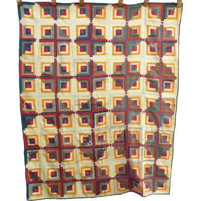 FABULOUS unique antique 1890's LOG CABIN Quilt with Turkey-Red fabric BUTTONS!