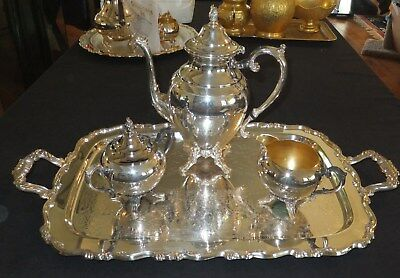 Wm. Rogers vintage 4pc silver-plated Coffee / Tea Set    [540]