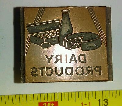Vintage Letterpress Printing Block Dairy Products Milk Cheese Eggs Rare