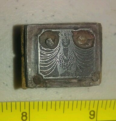 Vintage Letterpress Printing Block Woman with Long Hair & Jewelry Rare