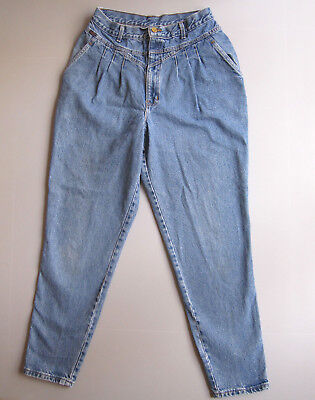 Vintage Chic High Rise Mom Jeans 29x30.5 pleated 14 tapered leg USA 80s 90s
