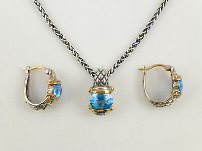 Blue Oval-cut Topaz Sterling 14K Yellow Gold Pendant Chain Necklace Earring Set