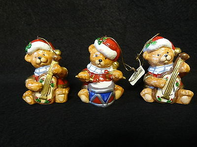 LOT of 3 HOLIDAY Instrument CHRISTMAS Teddy Bears GUITAR & DRUM Tree ORNAMENTS