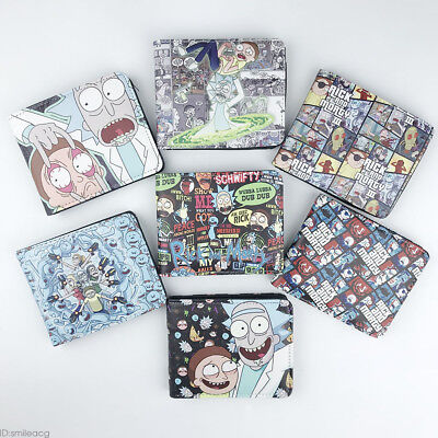 Anime Rick and Morty Wallet Bifold Card Holder Purse Colour Cosplay Gifts Otaku