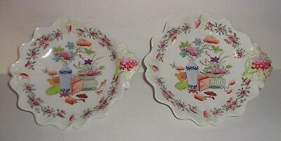 Pair Antique Old Chinese Export Style Soft Paste English Porcelain Shell Dishes
