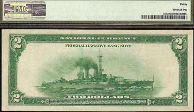 Large 1918 $2 Two Dollar Bill Battleship Federal Reserve Bank Note Currency Pmg