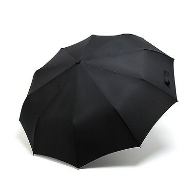 Black 10 Ribs Compact Folding Umbrella Auto Open Close Waterproof Windproof New