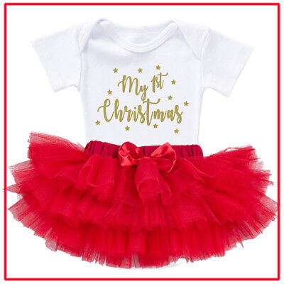 Personalised Baby Romper Bodysuit with red tutu skirt set - First Christmas
