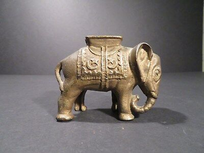 Vintage Elephant With Howdah Cast Iron Bank