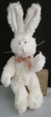 "Boyds Bears The Archive Collection White Bunny Rabbit Pink neck ribbon 8"" W/Tag"