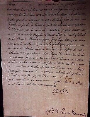 CHARLES X of FRANCE - Letter concerning LOUIS XVI and Marie ANTOINETTE - 1829