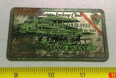 Vtg 1933-33 Agua Caliente Jockey Club Metal Season Ticket Card Horse Racing Rare