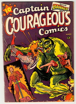 CAPTAIN COURAGEOUS Comics #6 very rare ACE banner super-mystery four favorites