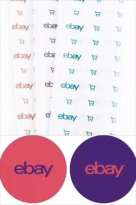 "eBay Shipping Supplies ~ 2 Stickers 3 x 3"" + 2 Tissue Paper 20x30"" RED & PURPLE"