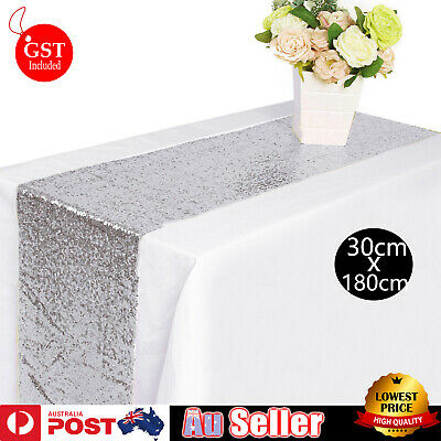 30x180cm Silver Sparkly Table Runner Catering Sequin Wedding Party Glitter Linen