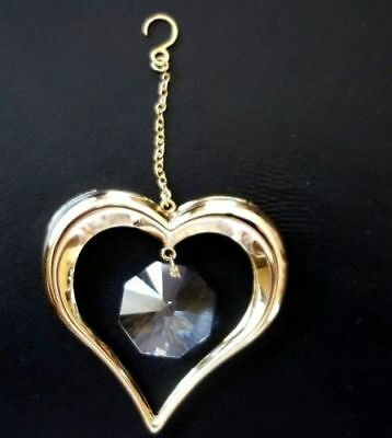 heart -24k Gold Plated  with Swarovski Crystals Christmas  Free shipping