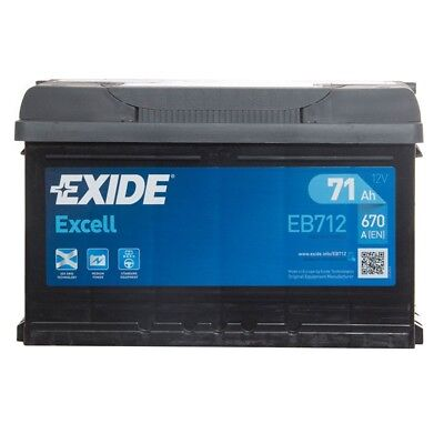 Excell 100 Car Battery 3 Years Warranty 71Ah 670cca 12V Electrical - Exide EB712