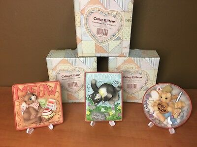 "Enesco Calico Kittens ""Everything I Need To Learn..."" (3) Wall Plaques  642371"