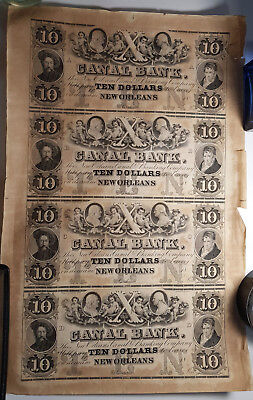 US 1800s CANAL BANK OF NEW ORLEANS $10 Uncut Sheet of 4 Haxsby 105-G22a RARE