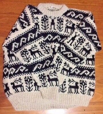 100% Wool Nepalese Unisex or Mens Black and White patterned Jumper!