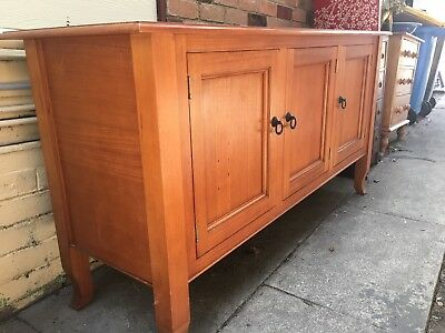 Solid Tasmanian Oak Sideboard/ Buffet with three doors and two shelves