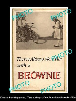 OLD HISTORIC PHOTO OF KODAK CAMERA ADVERTISING POSTER, FUN WITH A BROWNIE c1920