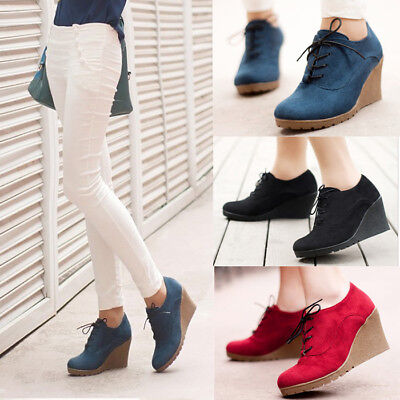 Women Suede Wedge Mid Heel Ankle Boots Ladies Lace Up Pointed Toe Platform Shoes