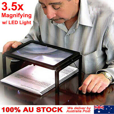 Large A4 Page Hands Free Magnifying Glass With Light LED Magnifier Reading AFZ