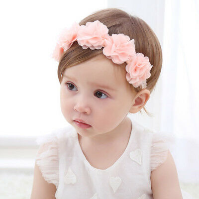 Beauty Pink Cloth Flower Headband Soft Elastic Hairband For Lovely Baby Girls